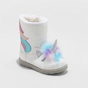 Cat & Jack Girls Chiara Unicorn Ankle Boots SZ 12